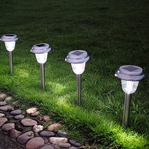 Ohuhu Stainless Steel Solar Garden Lights / Pat...
