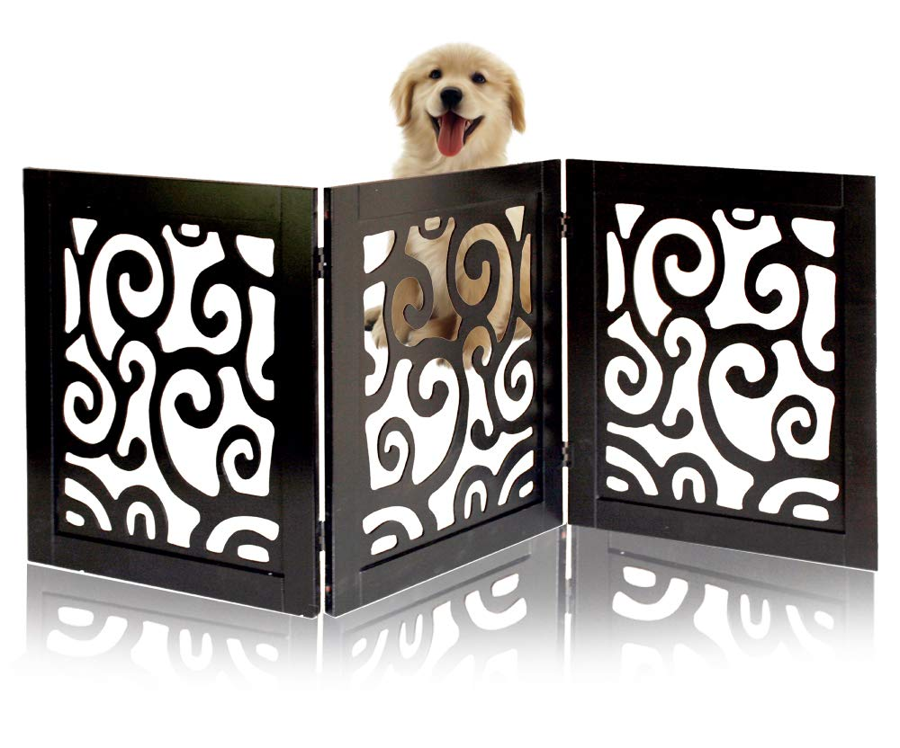 Safety Pet Gate for Dogs - Free-Standing & Foldable - Decorative Scroll Wooden Fence Barrier - Stairs & Doorways (Black)