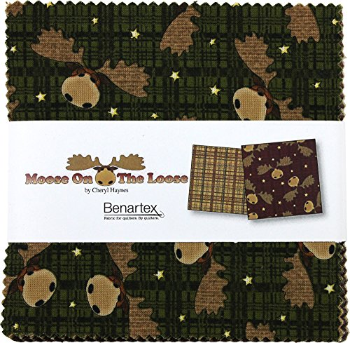Loose Fabric (Cheryl Haynes Moose On The Loose 5X5 Pack 42 5-inch Squares Charm Pack Benartex)