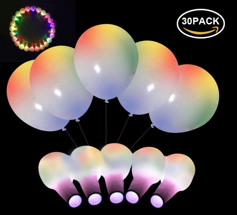 Neo Loons 12インチホワイトプレミアムラテックスバルーンバルーンマルチカラーラウンドLEDボールランプライト結婚式誕生日パーティーアニバーサリー装飾用( 30バルーン& 30 LEDライト   B077X1C96R