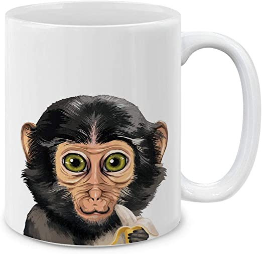Amazon Com Mugbrew Cute Animal Monkey With Banana Ceramic Coffee Mug Tea Cup 11 Oz Kitchen Dining