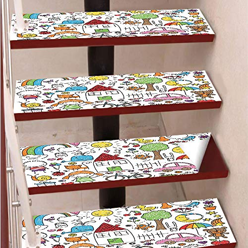 (3D Print Non-Slip PVC Stair Pads,Self-Adhesive Steps Sticker,Staircase Treads Protector,Simple Childlike Drawing of House Girl and Boy Teddy Bear and Various Other Things Decorative,for Home Decoratio)