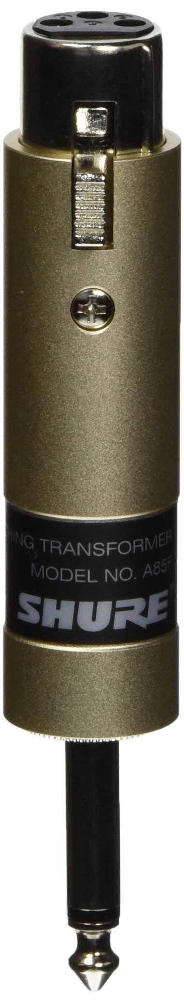 Shure A85F Transformer; Low Z, Female XLR to High Z 1/4-Inch Phone Plug