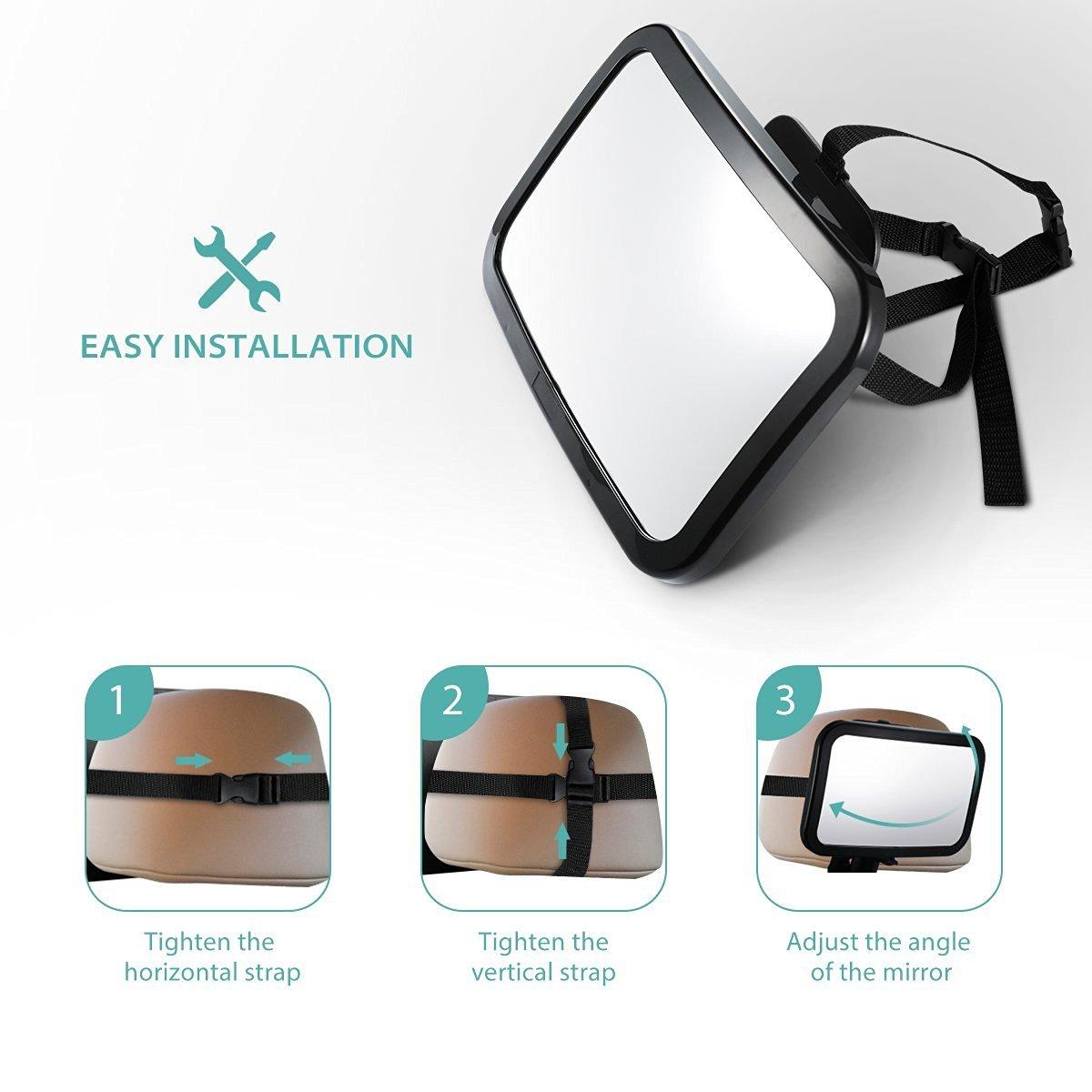 Qinlee Miroir de voiture Pour B/éb/é R/étroviseur de Surveillance Pour B/éb/é Rotation 360/°Inclinable et orientable Noir