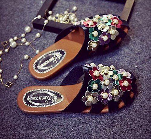 Mules Shoes Black edv0d2v266 Women Sandals Flats 2 Slippers Woman Slides Summer Slippers Half A6ORS4qw