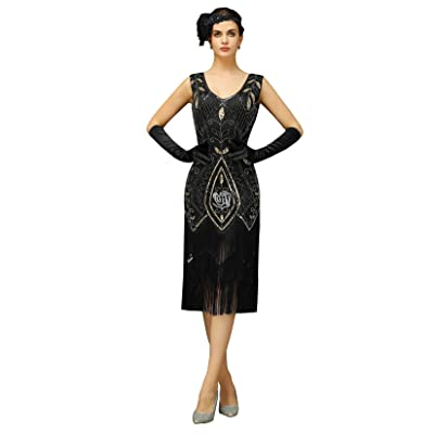 Women's 1920's Vintage Flapper Dress Gatsby Charleston Party Fringed Dresses at Women's Clothing store