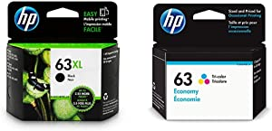HP 63XL | Ink Cartridge | Black | F6U64AN & 63 | Ink Cartridge | Tri-Color | Economy Size | 1VV44AN