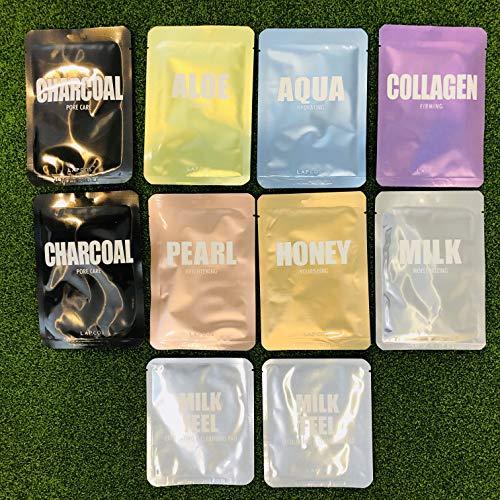 LAPCOS Sheet Masks Variety Set 8 Masks 2 Bonus Exfoliating Pads – Honey Pearl Aloe Aqua Collagen Charcoal Milk Face Masks Variety Set Korean Beauty Salon