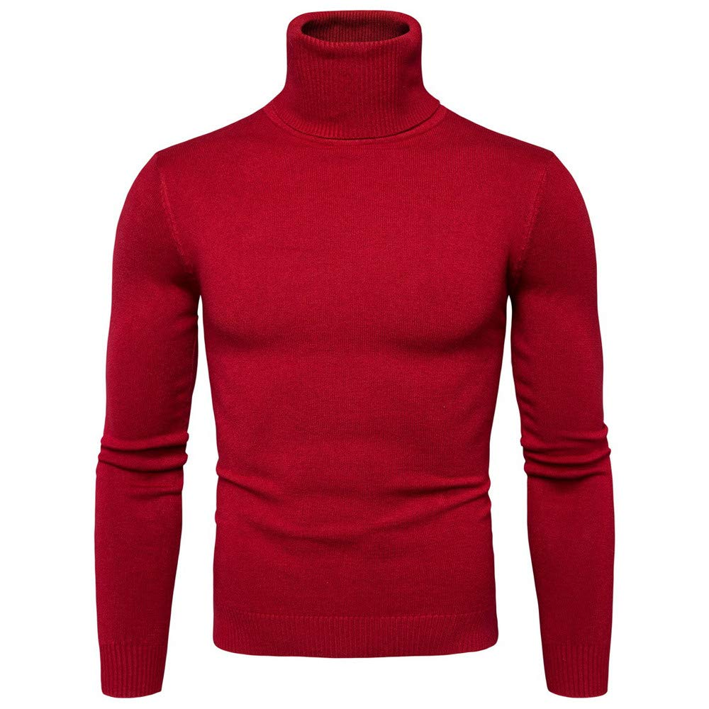 Theshy Men Winter Turtleneck Long Sleeve Slim Pullover Sweater Shirt Blouse Top