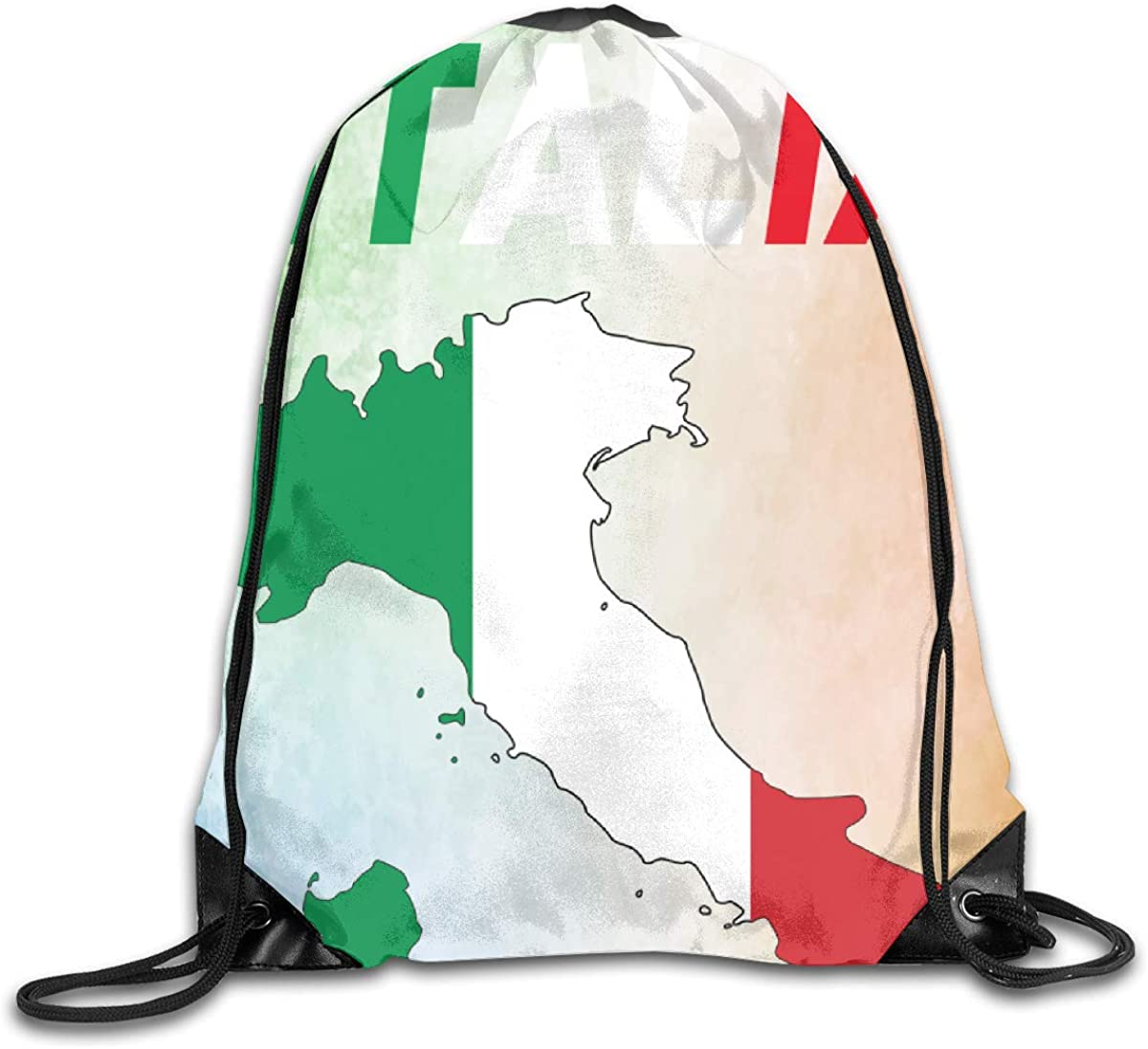 Italia Flag Beam Mouth Backpack Pull Rope Shoulder Bag Outdoor Sports Leisure Bag