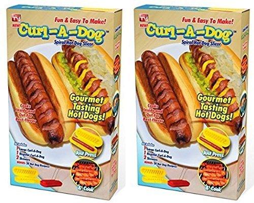 (Curl-A-Dog BBQ Spiral Grilling Hot Dog Sausage Slicers Cooking Set Of 2)