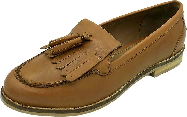 Womens Ladies Flat Slip On Tan Brown