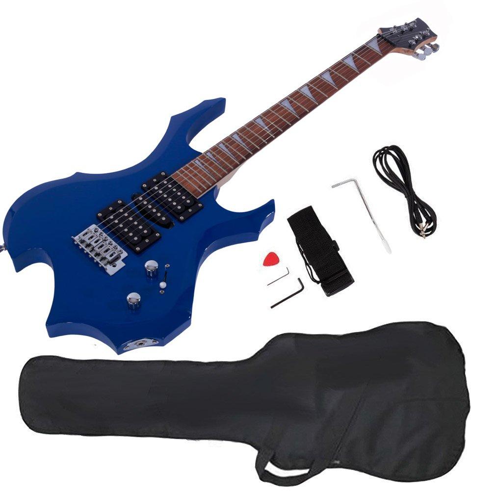 GLARRY Cool Burning Fire guitarra eléctrica estilo regalo de Navidad para principiantes guitarra amante con juego de accesorios para: Amazon.es: ...