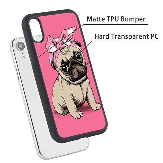 more photos 7ad17 9a48e Amazon.com: Cute Pug Dog Cell Phone Case for iPhone Xr (2018) 6.1 ...
