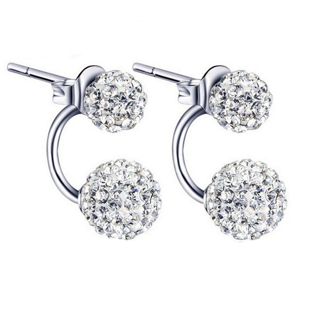JAJAFOOK Sterling Silver Double Sided Stud Earrings for Women Girls Swiss Bead Piercing Earrings Hypoallergenic Charm