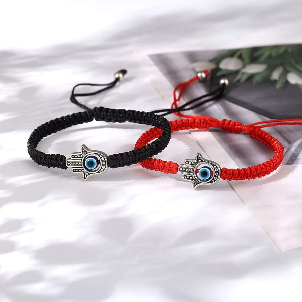 SUNSH 2Pcs Evil Eye Bracelets Good Luck for Couple Friendship Family Adjustable Cords Protection Jewelry Hamsa Lover Gifts
