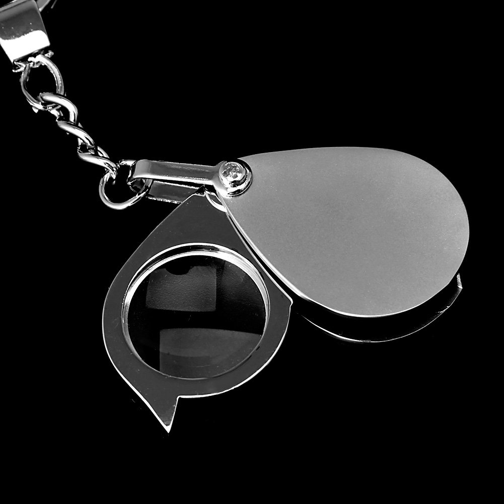 Amrka 8X Magnifier Pocket Folding Loupe Magnifying Glass Lens With Keychain Portable