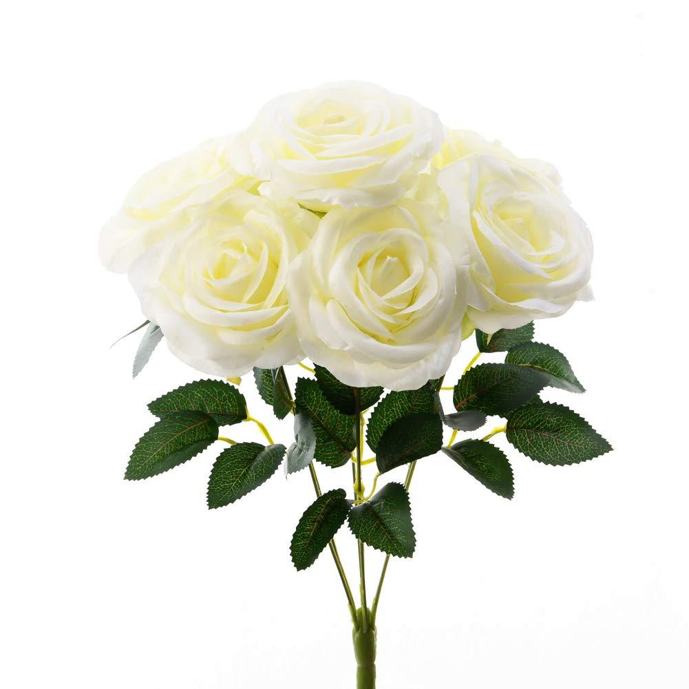 Stem Artificial Yellow White Flowers Bunch of Pink Faux Silk Frangipani