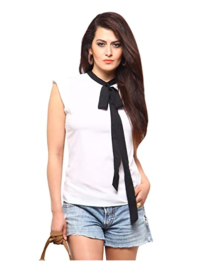 ae50985f02 Yepme Ena Tie-up Top - White   Black -- YPMTOPS0840 XXL  Amazon.in ...