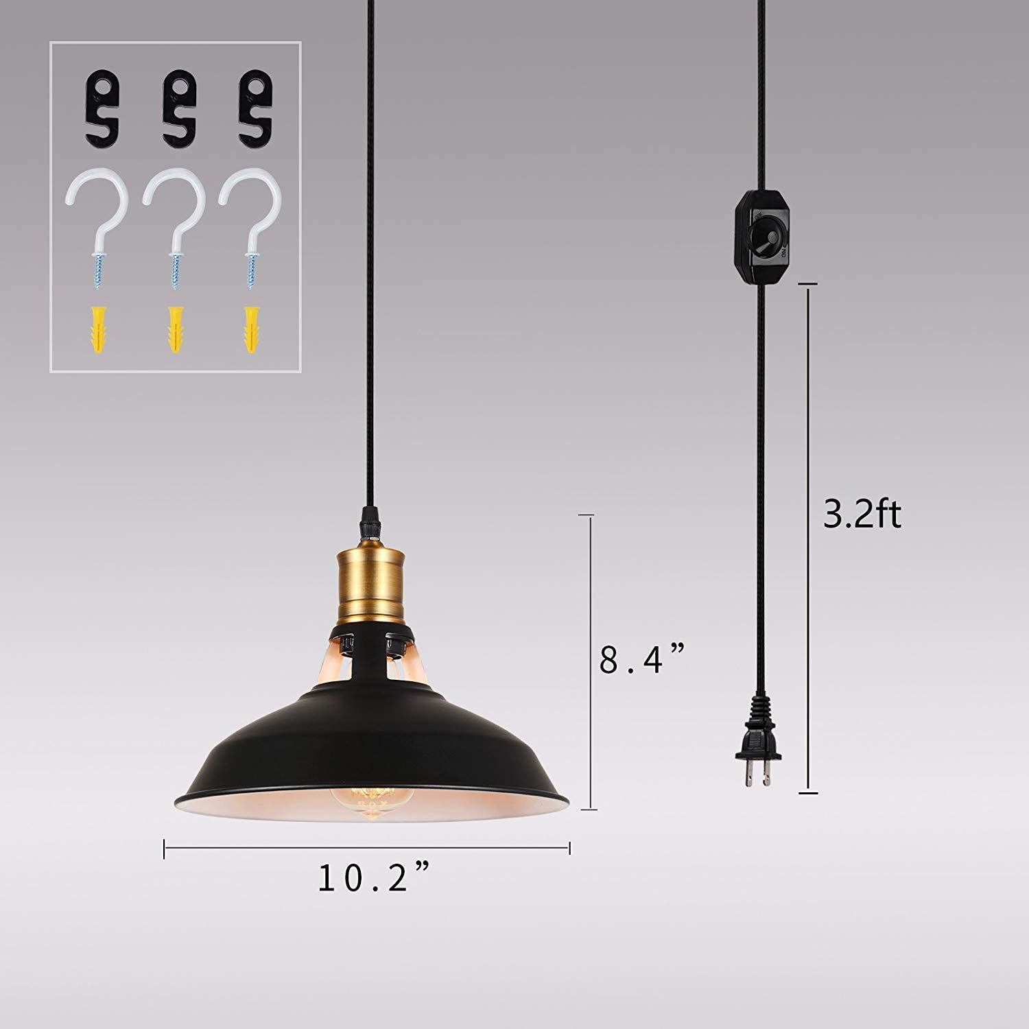 HMVPL Farmhouse Plug in Pendant Lighting Fixtures with Long Hanging Cord and Dimmer Switch, Vintage Hanging Chandelier Black Industrial Swag Ceiling Lamp for Kitchen Island Dining Table Pack of 2