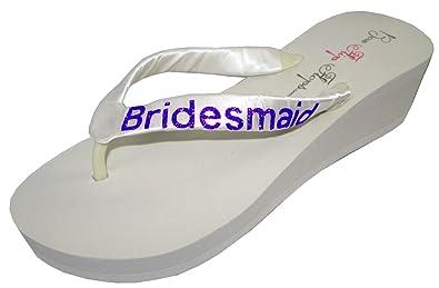 Amazon.com | Wedding Flip Flops Bridesmaid Bridesmaid Bridal Flip ...