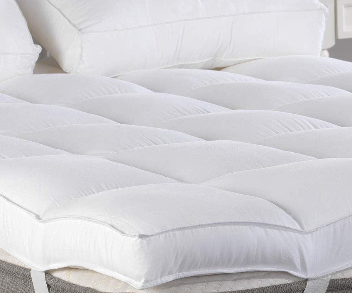 Marine Moon King Mattress Topper, Plush Pillow Top Mattress Pad Bed Topper, Hotel Quality Down Alternative, 3 Thick