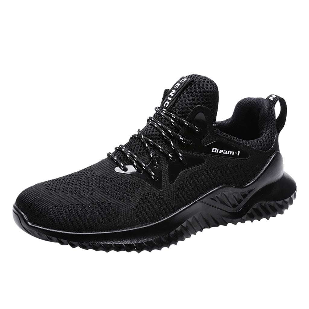 Running Basketball Shoe,Men Net Surface Flat Non-Slip Breathable Lightweight Youth Sports Sneakers Gym Training Shoes (D_Black, US:10.5) by Hotcl