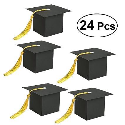 Amosfun 24pcs Caja Para Regalo En Forma De Birrete Sombrero Graduacion Cajita De Caramelo Para Graduación Decoración De Fiesta De Graduación Negro