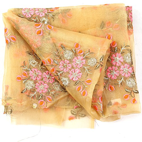 Shopolics Cream-Pink and Golden Floral Design Embroidery Silk Organza Fabric-50037 for Wedding, Festival, Party Wear (1 Yard)