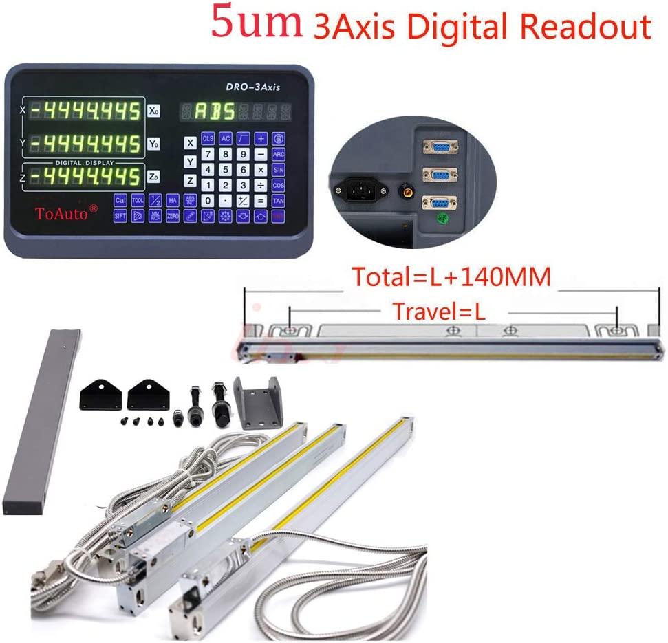 3Axis Digital Readout Linear Scale for Bridgeport Milling Lathe 400/&600/&700MM