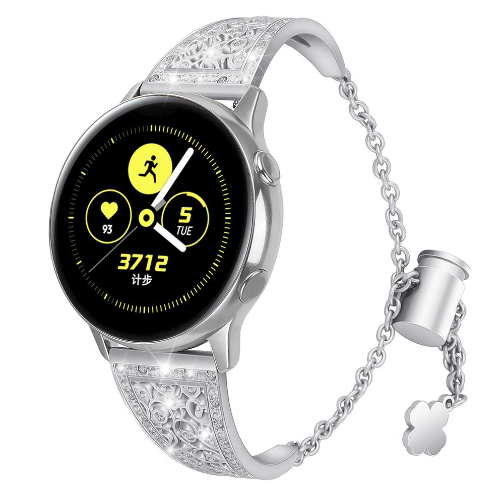 Aottom Compatible for Samsung Galaxy Watch Active 40mm Band 20MM Women Metal Rhinestone Diamond Chain Jewelry Bracelet Wristband Replacement Band for Samsung Galaxy Watch 42mm/Active 40mm/Gear Sport by Aottom