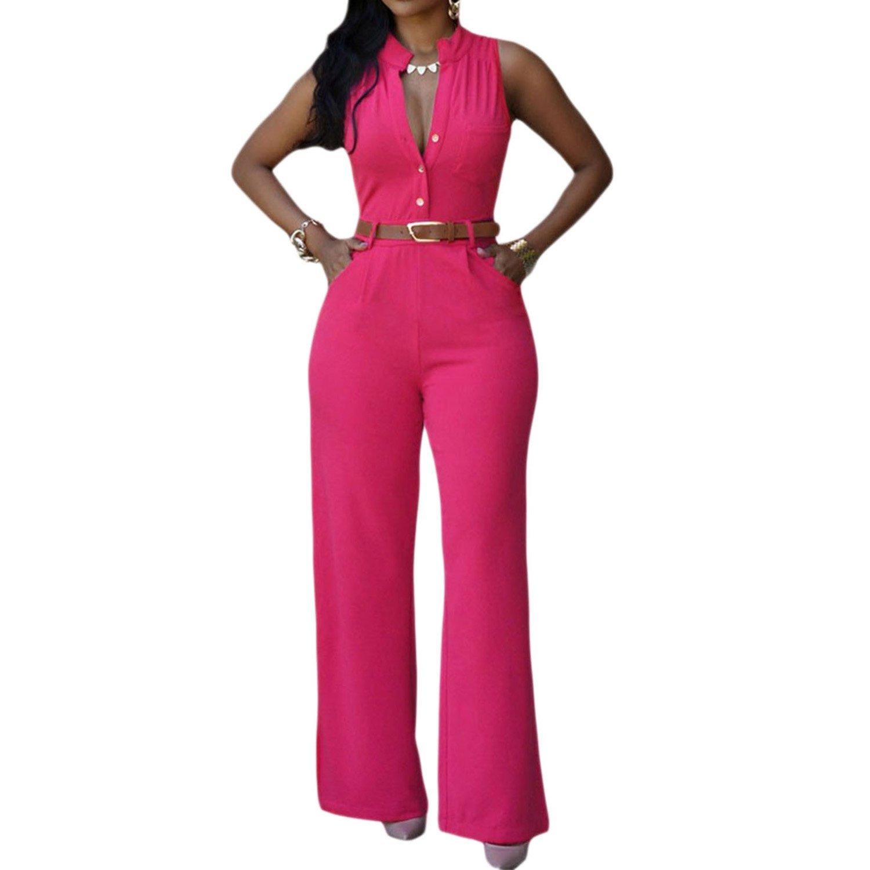 SUNNOW® Elegant Damen Jumpsuit V-Ausschnitt Einreiher Hohe Taille Breite Beinhosen Lang Hose Frauen Overall Party Abendmode