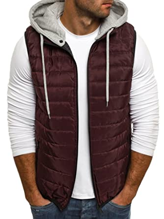 e1eab6aa10cc7b Makkrom Mens Puffer Vest Jacket Quilted Removable Hooded Sleeveless Zip Up  Warm Winter Outwear Jacket Gilet
