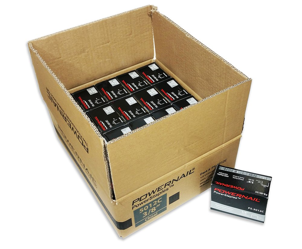 Powernail 20ga. Chisel Point Staple, 1/2''crown x 3/8''leg. (1 Case of 20-5000ct boxes)