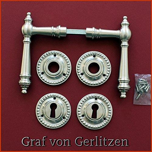 Graf von Gerlitzen Antik Messing Nickel T/ür Griffe T/ürgriffe T/ürbeschlag T/ürdr/ücker Rosetten BB Rund Gr/ünderzeit WW-7N