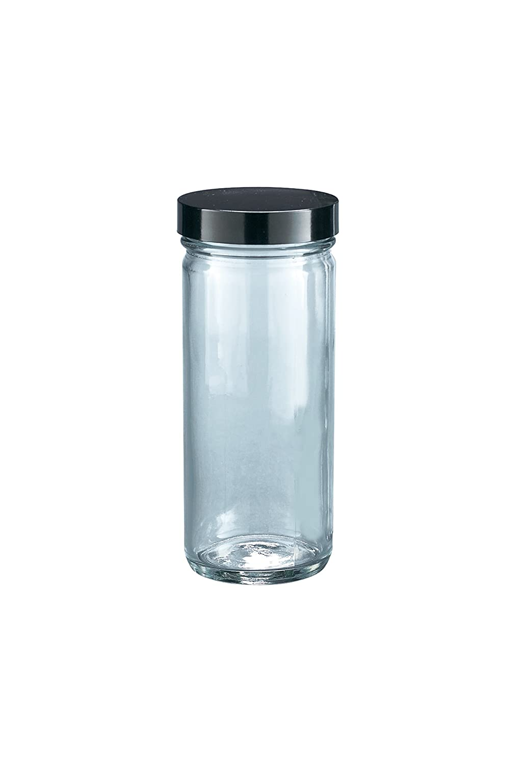 Kimble Type III Soda-Lime Glass Clear Straight-Sided Tall Wide Mouth Jars with Solid PE Caps Case of 12 Capacity 32oz