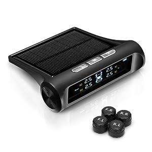 Jauge de Pression des Pneus Système de Surveillance des Pneus Sans Fil Énergie Solaire avec Affichage LED Couleur + 4 Capteurs Externes pour Voiture Auto (noir)