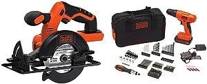 BLACK+DECKER BDCCS20B 20-volt Max Circular Saw Bare Tool, 5-1/2-Inch with BLACK+DECKER BDC120VA100 Cordless Project Kit with 100 Accessories