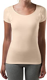 product image for T THOMPSON TEE Sweatproof Undershirt for Women with Underarm Sweat Pads (Slim Fit, Scoop Neck)