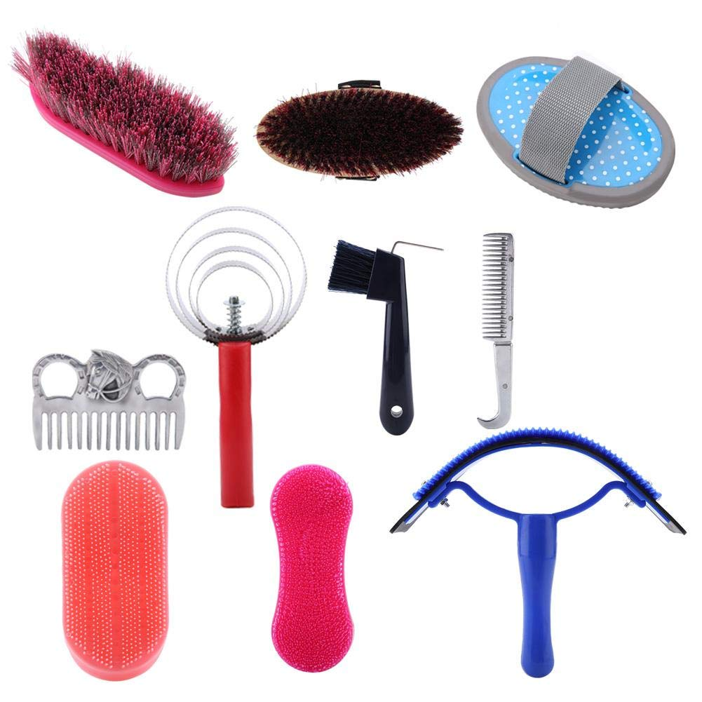 Fdit Horse Grooming Care Kit Equestrain Brush Curry Comb Horse Cleaning Tool Set 10Pcs by Fdit