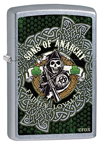 Zippo Custom Lighter: Sons of Anarchy Ireland Shamrocks - Street Chrome 78930