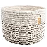 INDRESSME Small Storage Basket - Cute Cotton Rope Basket - Closet Storage Bins - Desk Basket Organizer - Baby Nursery Organizer for Toy Storage Bin- 9.4'' x 9.4'' x 7.1''