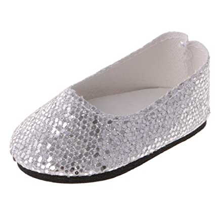 8146c01e1582a Amazon.com: Jili Online Fashion Doll Party Silver Flat Heel Sequins ...