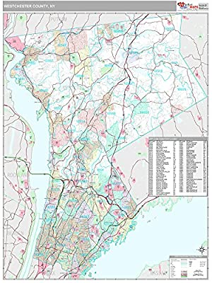 Westchester County, NY Wall Map (Premium Style, 48x64 inches)