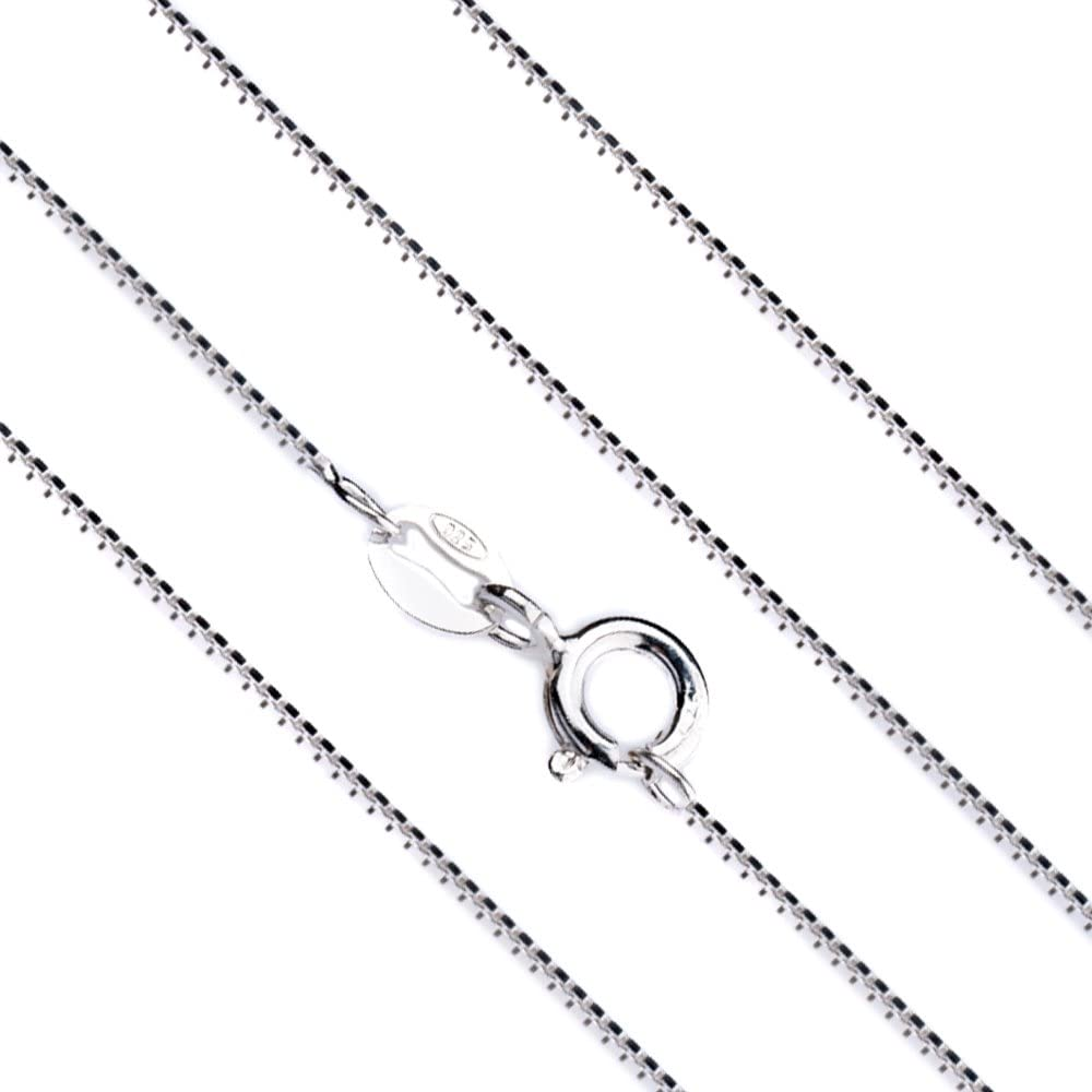 14 Sterling Silver 1mm Box Chain Necklace Lobster Claw Clasp Diamond Cut Box Chain