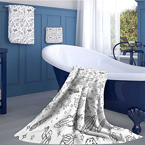 alisoso Boys Premium Cotton Extra Large Bath Towel Set Doodle Solar System Astronauts Space Crafts and Shooting Stars Science Fiction Theme Bathroom hand towels set Black White by alisoso