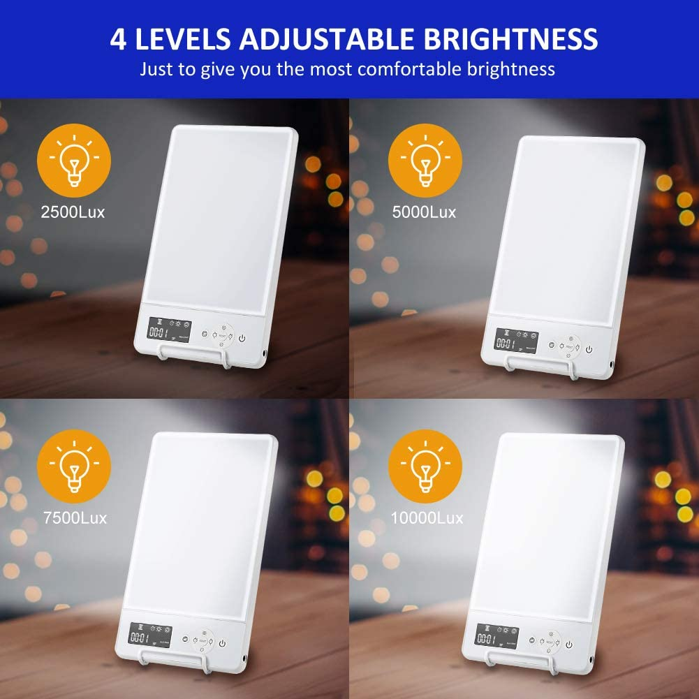 White Adjust 4 Level Brightness Mimicked Sunlight Lamp Dual Color Sad Lamp for Seasonal Affective Disorder Light Therapy Lamp,10000 Lux LED Daylight Box Standing Bracket for Home//Office Use