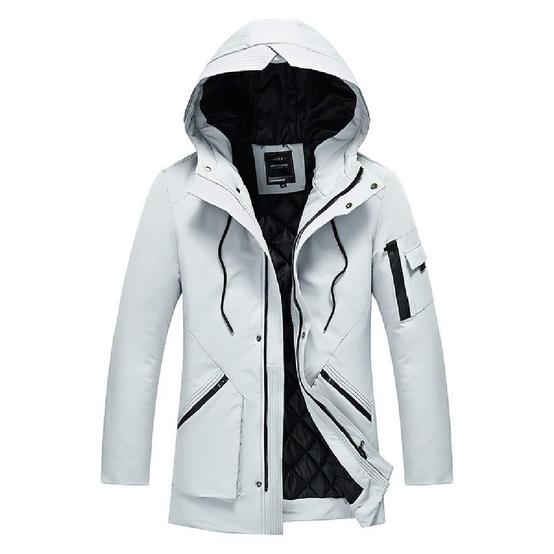 YUNY Mens Solid-Colored Thicken Hood Comfort Down Coat Light Grey M