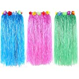 Newcreativetop 32'' Adult's Flowered Luau Hula Skirts Pack of 3,Assorted Colors (BlueGreenPink)