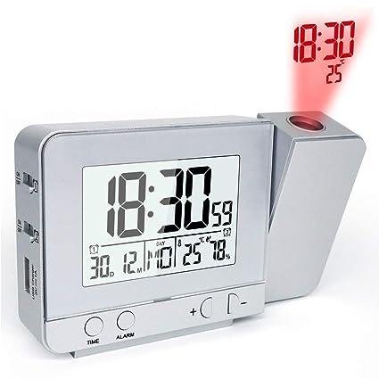 OESFL Reloj Despertador de proyección con función de repetición de ...